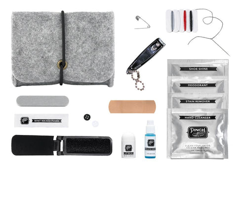 Minimergency Kit in Grey Felt Pouch | Includes 14 Essentials | Unisex