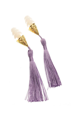Holly Golightly Tassel Earplugs in Lavender