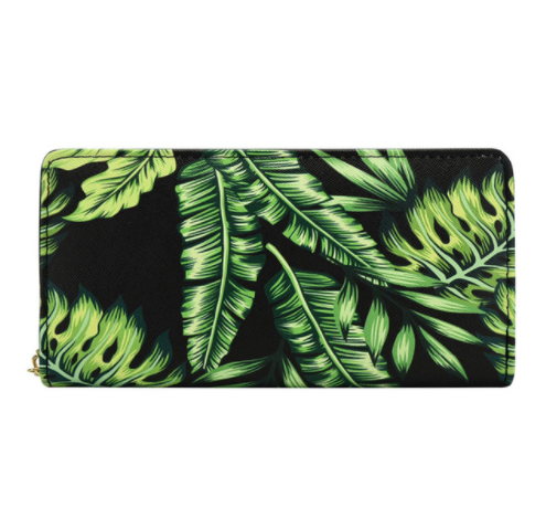 Banana Leaves Women's Zip Wallet in Vegan Leather with Gold Accents