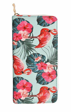 Pink Flamingos Women's Zip Wallet in Vegan Leather with Gold Accents