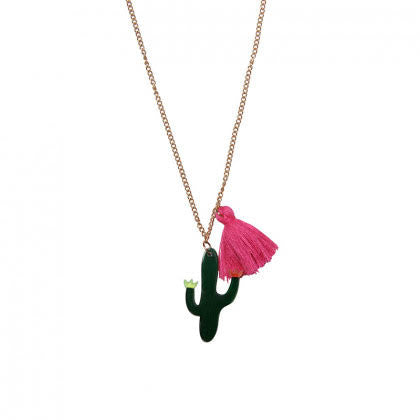 Cactus Necklace with Neon Pink Tassel on Gold Chain