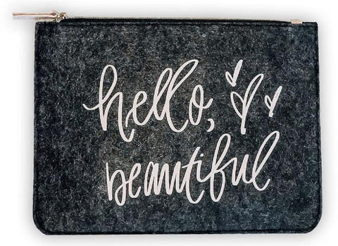 Hello Beautiful Felt Pouch Black Cute/Cool/Unique Zipper Pouch/Bag/Clutch/Cosmetic/Makeup Bag