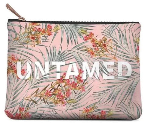 Untamed Small Zippered Pouch in Flower and Palm Leaves