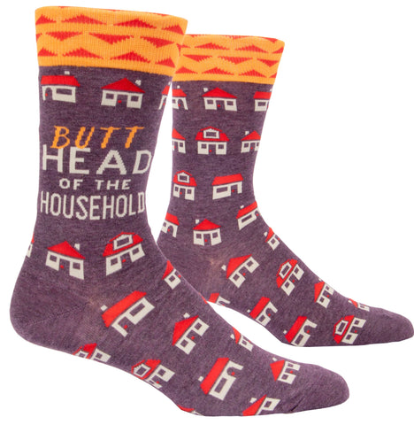 Butthead Of The Household Men's Crew Socks, Hipster/Nerdy/Geeky/Trendy, Colorful Funny Novelty Socks with Cool Design, Bold/Crazy/Unique Pattern Dress Socks