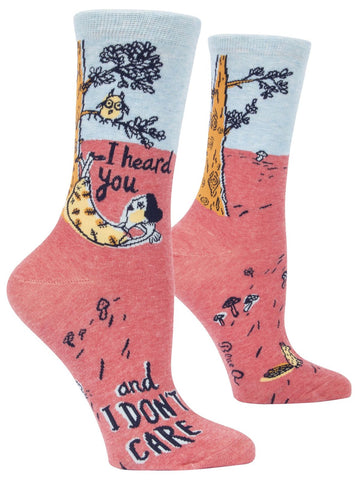 I Heard You & I Don't Care Women's Crew Socks, Hipster/Nerdy/Geeky/Trendy, Pink Blue Funny Novelty Socks with Cool Design, Bold/Crazy/Unique Quirky Dress Socks