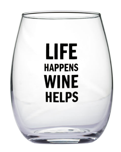 Life Happens Wine Helps Stemless Wine Glass