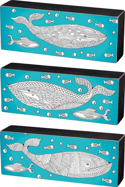Whale Color It Yourself Block Sign, Coloring Project For Adults, Decorative Wall Art for Living Room/Bedroom/Dining Room