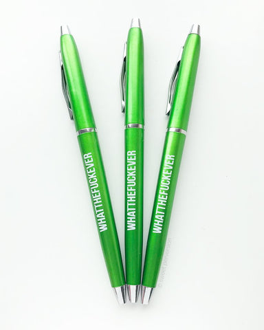 Whatthefuckever Pen Set in Lime Green | Set of 3 Funny Sweary Profanity Ballpoint Pens