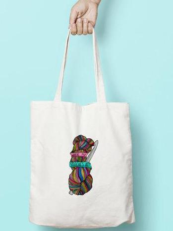 Where My Stitches At Canvas Tote