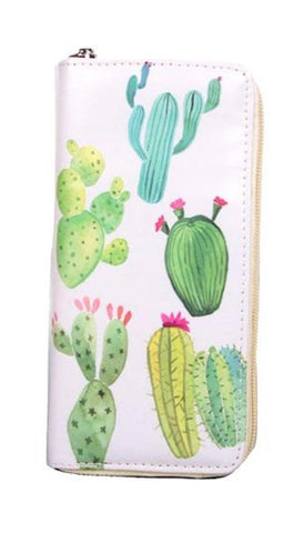 Desert Cactus Zip Wallet in Vegan Leather