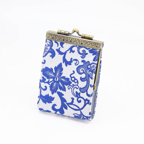 Card Holder in White and Blue Brocade | 10 Slots | RFID Blocking