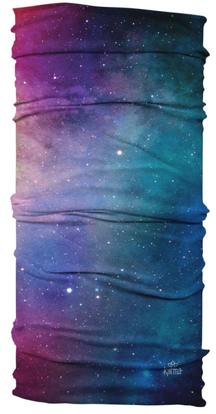 Karma Ultra Wide Cute Elastic Stretchy Yoga Headband | Workout Hair Wrap | Face Cover | Buff | Stylish/Cool/Soft Sports Hair Accessory | Galaxy