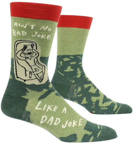 Dad Joke Men's Crew Socks, Hipster/Nerdy/Geeky/Trendy, Quirky Funny Novelty Socks with Cool Design, Bold/Crazy/Unique Dress Socks