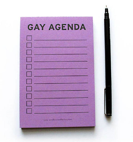 Gay Agenda Notepad in Lavender