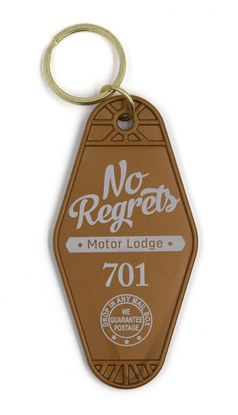 No Regrets Motor Lodge 701 Keychain in Brown