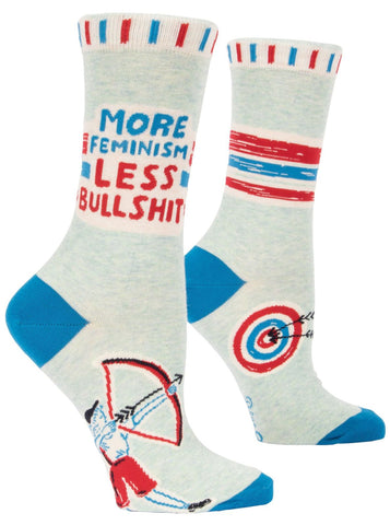 More Feminism Less Bullshit Women's Crew Socks, Hipster/Nerdy/Geeky/Trendy, Novelty Power Socks with Cool Design, Bold/Crazy/Unique Business Dress Socks