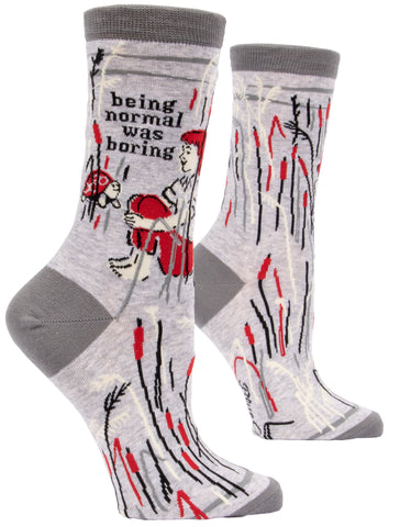 Being Normal Was Boring Women's Crew Socks Hipster/Nerdy/Geeky/Trendy, Quirky Funny Novelty Socks with Cool Design, Bold/Crazy/Unique Dress Socks