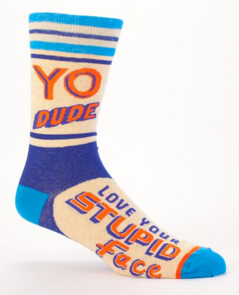 Yo Dude, I Love Your Stupid Face Men's Crew Socks in Blue and Orange