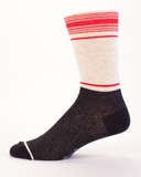 Last Call! Yo Dude, Put Some Pants On Men's Crew Socks, Hipster/Nerdy/Geeky/Trendy, Black Red Funny Novelty Socks with Cool Design, Bold/Crazy/Unique Quirky Dress Socks