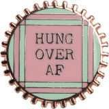 Hung Over AF Enamel Pin in Pink and Mint on Gift Card