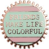Friends Make Life Colorful Mint Green Enamel Pin on Gift Card