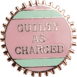 Guilty As Charged Pink and Mint Enamel Pin on Gift Card