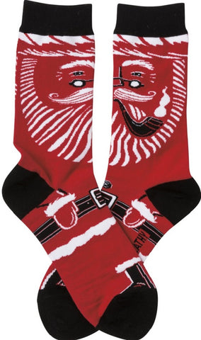 Santa Socks in Red, White, and Black