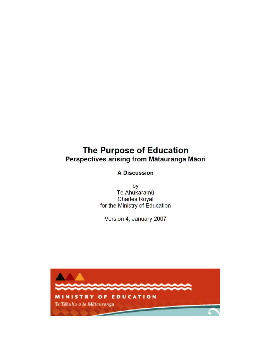 The Purpose of Education: Perspectives from Mātauranga Māori
