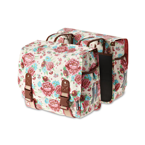 Basil Bloom double bicycle pannier in gardenia white