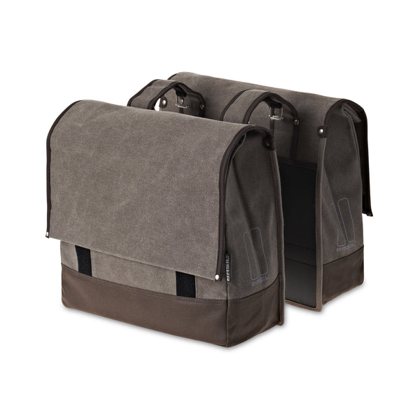 Basil urban fold double bicycle pannier in sand brown