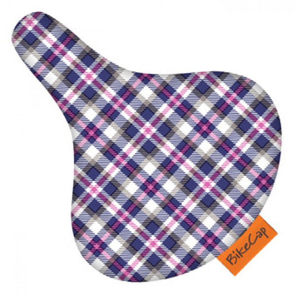 Bike Cap Purple Plaid Seat Cover