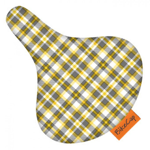 Bike Cap Yellow Plaid Seat Cover