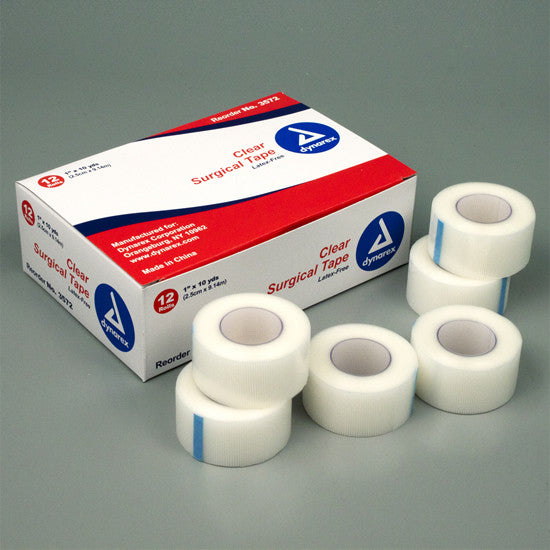 "CLEAR SURGICAL TAPE 1"" (12 ROLLS /BOX)"
