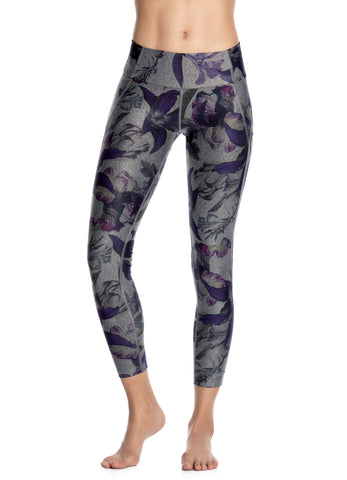 Maaji Dazeful Flora Gray Mid Rise Leggings