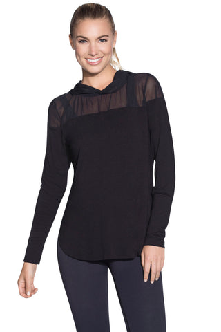 MAAJI 1834ALY01: Sheer Waves Black Long Sleeve Layer