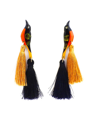 Nuez Moscada: Baltimore Oriole Earrings