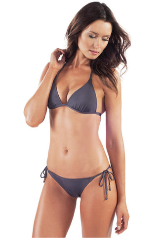 Voda Swim E01_Charcoal: Envy Push Up ® String  Bikini Set
