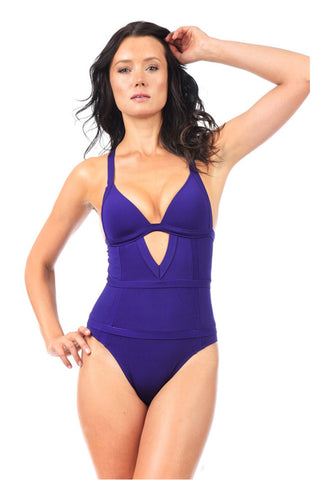 Voda Swim E42_Loganberry: Envy Push Up ® with Tummy Control One Piece Swimsuit