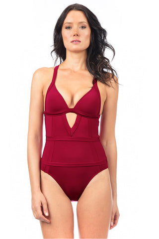 Voda Swim E42_Raspberry: Envy Push Up ® with Tummy Control One Piece Swimsuit