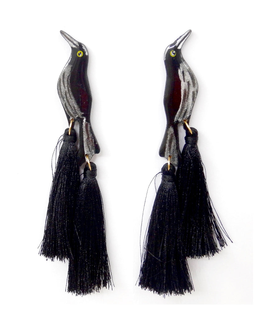 Nuez Moscada: Great Tailed Grackle Earrings
