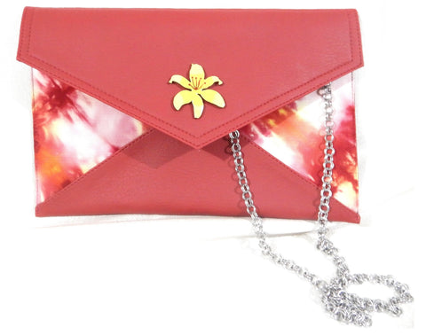 Limited Edition Vegan Leather with Tie dye fabric Lily Clutch and Sling bag