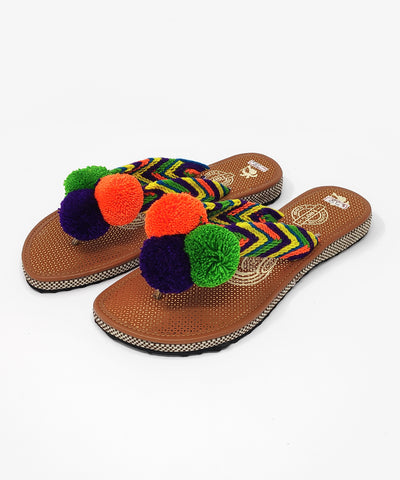 EUR 38 - Pom Pom Sandals Uniquely Handmade by Wayuu people