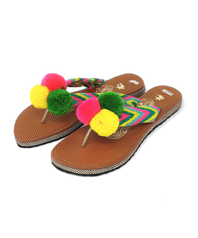 EUR 40 - Pom Pom Sandals Uniquely Handmade by Wayuu people