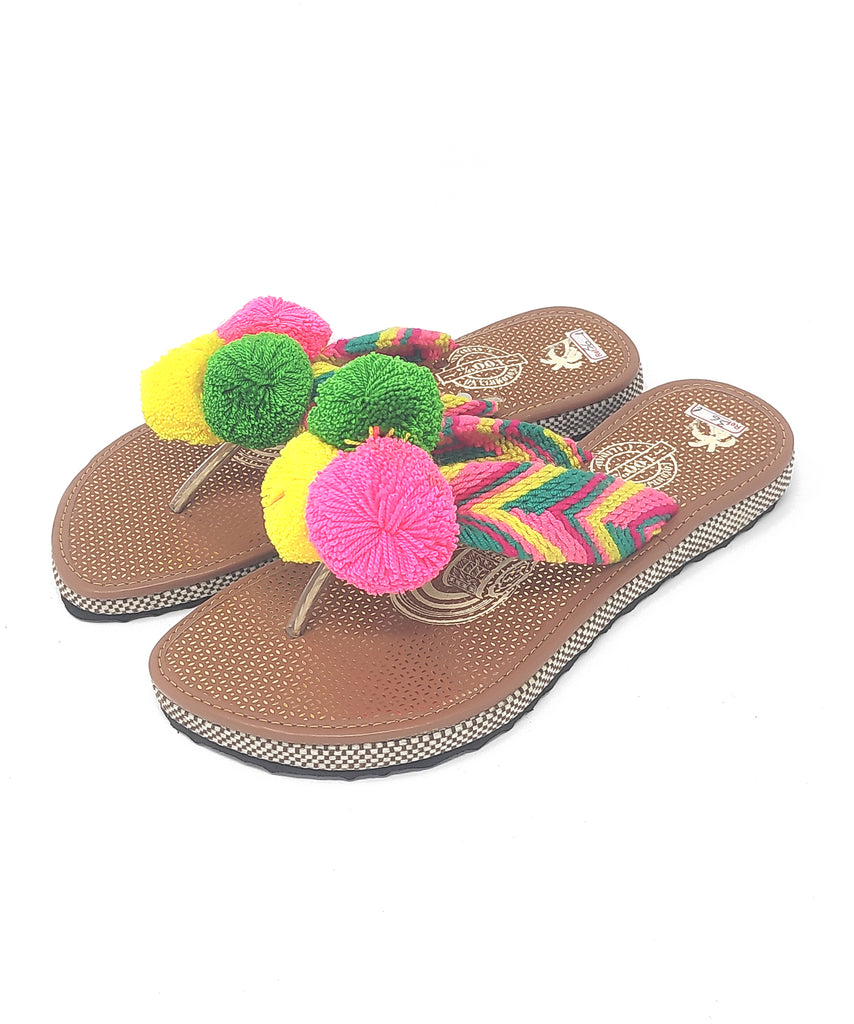 EUR 36 - Pom Pom Sandals Uniquely Handmade by Wayuu people