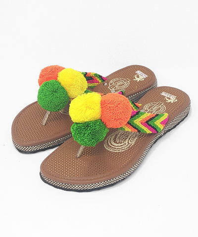 EUR 37 - Pom Pom Sandals Uniquely Handmade by Wayuu people