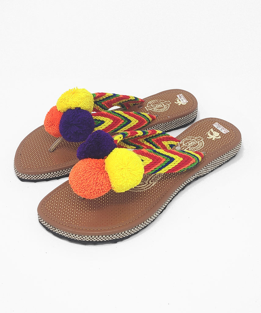 EUR 39 - Pom Pom Sandals Uniquely Handmade by Wayuu people