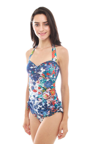 SUMMER CHICKS SBR157226  SEXY FLORAL MARMARA One Piece Ruched Maillot