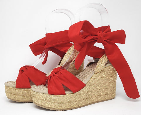 Soles For Change Bright Red 11cm High Wedges Espadrilles