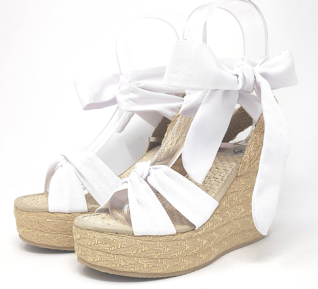 Soles For Change White 11cm High Wedges Espadrilles