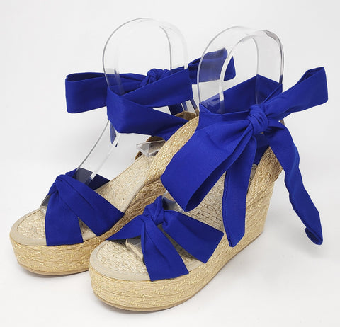 Soles For Change Saphire Blue 11cm High Wedges Espadrilles